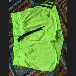 Neon green adidas athletic shorts